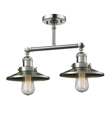Innovations Lighting 208C-SN-M2 Railroad 2 Light 15 inch Brushed Satin Nickel Semi-Flush Mount Ceiling Light, Franklin Restoration photo
