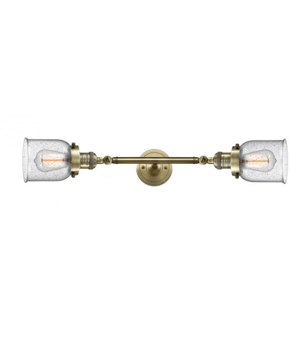 Innovations Lighting 208L-AB-G54-LED Small Bell LED 5 inch Antique Brass Bath Vanity Light Wall Light, Franklin Restoration photo