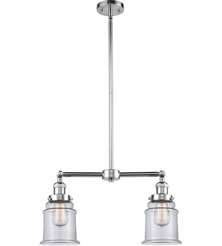 Polished Chrome Glass Canton Chandeliers
