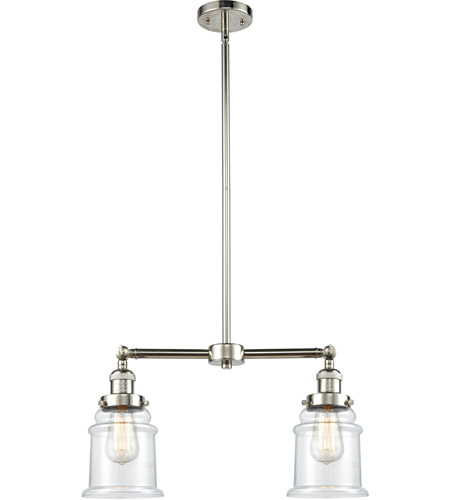 Polished Nickel Glass Canton Chandeliers