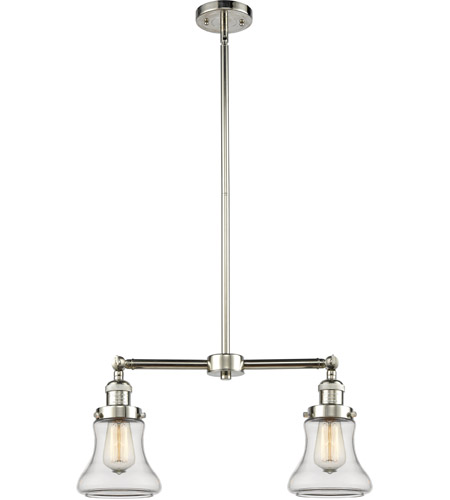 Polished Nickel Glass Bellmont Chandeliers