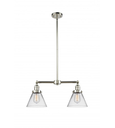 Polished Nickel Glass Large Cone Chandeliers