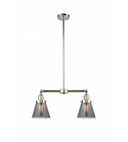 Polished Nickel Glass Small Cone Chandeliers