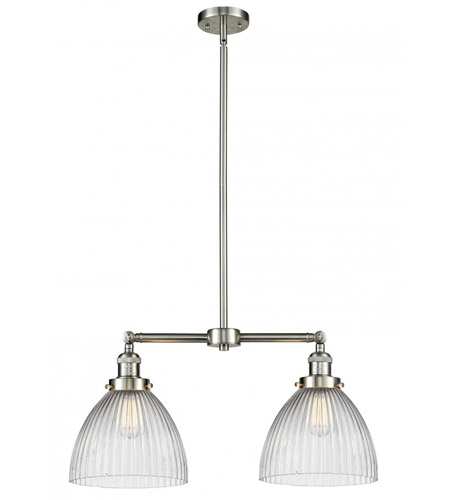 Innovations Lighting 209-SN-G222-LED Seneca Falls LED 21 inch Brushed Satin Nickel Chandelier Ceiling Light, Franklin Restoration photo