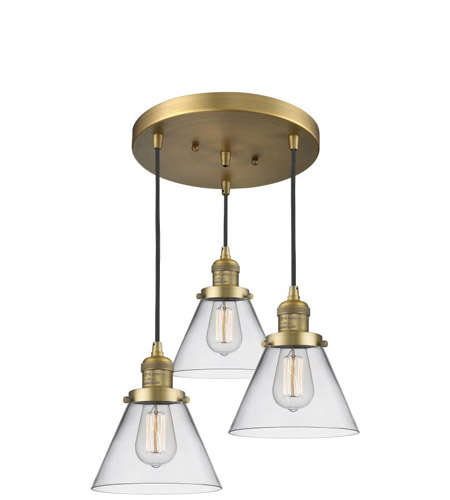 Innovations Lighting 211/3-BB-G42 Large Cone 3 Light 13 inch Brushed Brass Multi-Pendant Ceiling Light, Franklin Restoration photo thumbnail