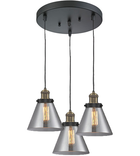 Innovations Lighting 211/3-BBB-G43 Signature 3 Light 13 inch Black and Brushed Brass Multi-Pendant Ceiling Light, Large, Cone photo