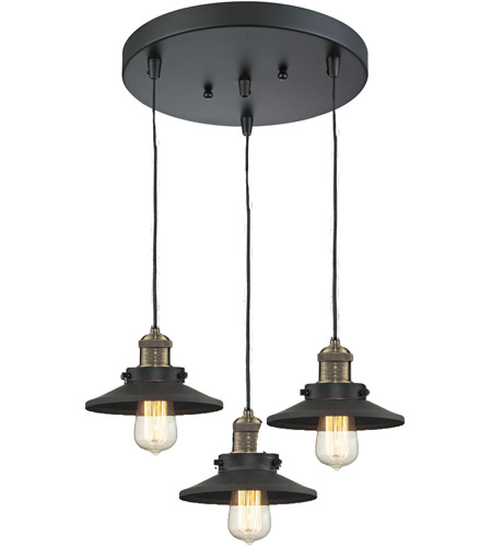 Innovations Lighting 211/3-BBB-M6 Railroad 3 Light 12 inch Black and Brushed Brass Multi-Pendant Ceiling Light photo