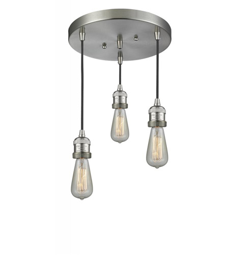 size 40 65551 916f0 Innovations Lighting 211NH/3-SN Bare Bulb 3 Light 10 inch Brushed Satin  Nickel Multi-Pendant Ceiling Light