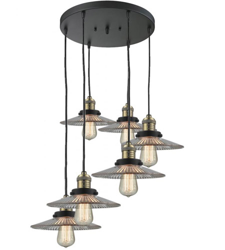 Black Antique Brass Glass Halophane Pendants