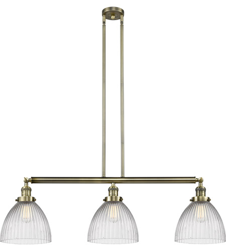 Innovations Lighting 213-AB-S-G222 Seneca Falls 3 Light 39 inch Antique Brass Island Light Ceiling Light, Franklin Restoration photo
