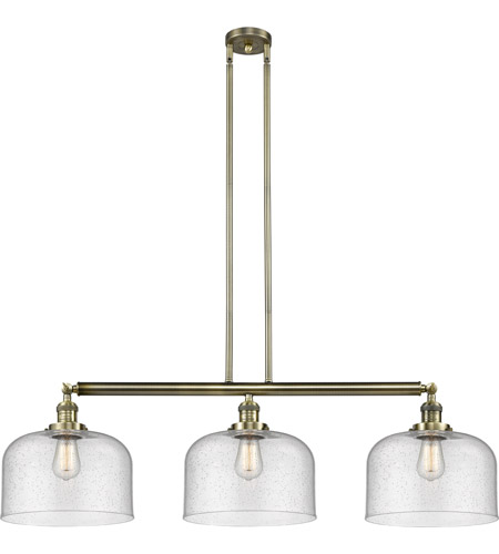 Innovations Lighting 213-AB-S-G74-L X-Large Bell 3 Light 42 inch Antique Brass Island Light Ceiling Light, Franklin Restoration photo thumbnail