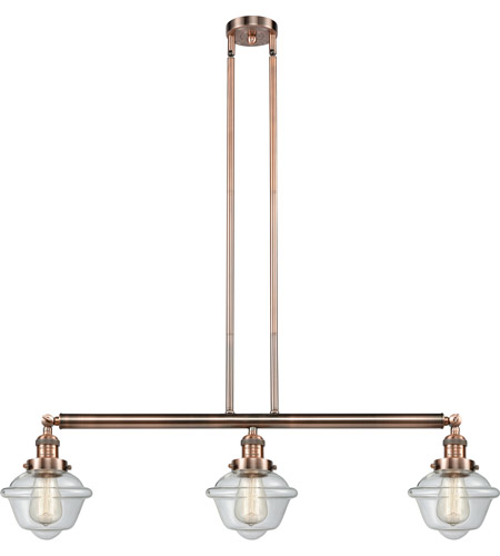 Innovations Lighting 213-AC-S-G532 Small Oxford 3 Light 40 inch Antique Copper Island Light Ceiling Light, Adjustable photo thumbnail