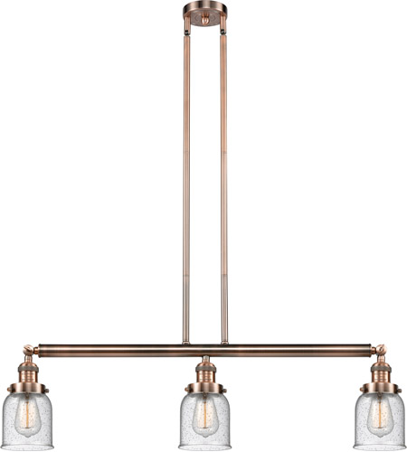 Innovations Lighting 213-AC-S-G54 Small Bell 3 Light 38 inch Antique Copper Island Light Ceiling Light, Adjustable photo thumbnail