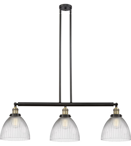 Innovations Lighting 213-BAB-S-G222 Seneca Falls 3 Light 39 inch Black Antique Brass Island Light Ceiling Light, Franklin Restoration photo