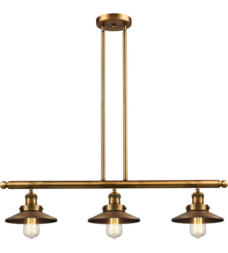 Innovations Lighting 213-BB-M4 Railroad 3 Light 41 inch Brushed Brass Island Light Ceiling Light, Franklin Restoration photo