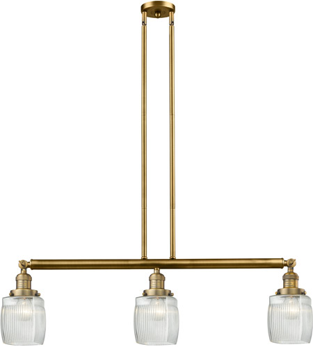 Brushed Brass Glass Colton Island Lights