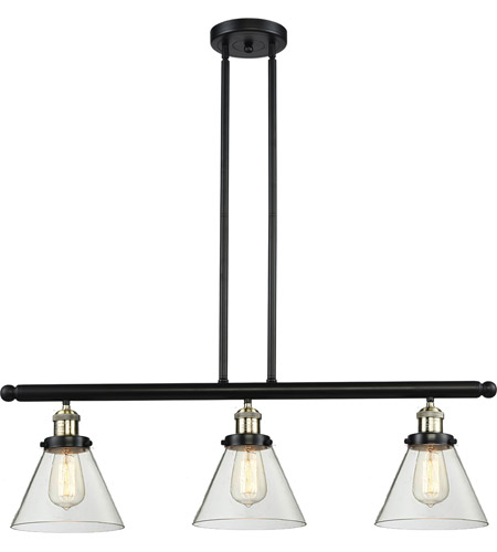 Innovations Lighting 213-BBB-G42 Signature 3 Light 36 inch Black and Brushed Brass Island Light Ceiling Light, Large, Cone photo