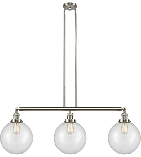 Innovations Lighting 213-SN-S-G202-10-LED X-Large Beacon LED 42 inch Brushed Satin Nickel Island Light Ceiling Light, Franklin Restoration photo thumbnail