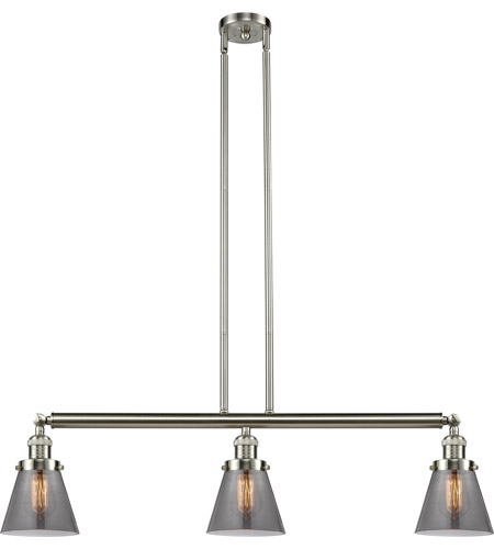 Innovations Lighting 213-SN-S-G63 Small Cone 3 Light 39 inch Brushed Satin Nickel Island Light Ceiling Light, Adjustable photo thumbnail