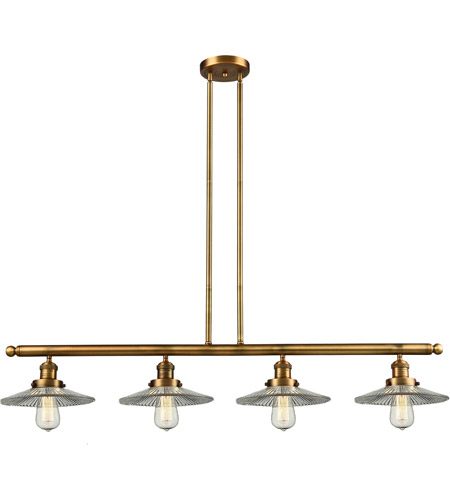Brushed Brass Glass Halophane Island Lights