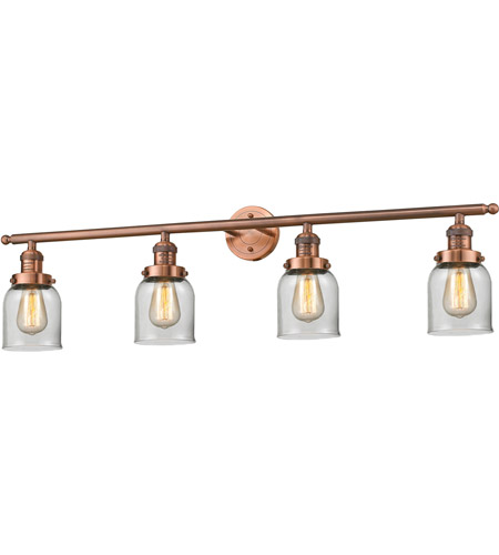 Innovations Lighting 215-AC-G52 Small Bell 4 Light 42 inch Antique Copper Bath Vanity Light Wall Light, Franklin Restoration photo