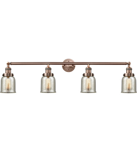 Innovations Lighting 215-AC-S-G58-LED Small Bell LED 43 inch Antique Copper Bath Vanity Light Wall Light, Franklin Restoration photo