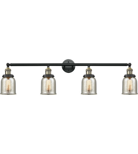 Innovations Lighting 215-BAB-S-G58 Small Bell 4 Light 43 inch Black Antique Brass Bath Vanity Light Wall Light, Franklin Restoration photo