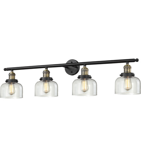 Innovations Lighting 215-BBB-G72 Signature 4 Light 44 inch Black and Brushed Brass Vanity Light Wall Light, Large, Bell photo