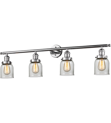 Innovations Lighting 215-PC-S-G52-LED Small Bell LED 42 inch Polished Chrome Bath Vanity Light Wall Light, Franklin Restoration photo