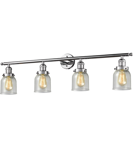 Innovations Lighting 215-PC-S-G54 Small Bell 4 Light 42 inch Polished Chrome Bath Vanity Light Wall Light, Franklin Restoration photo