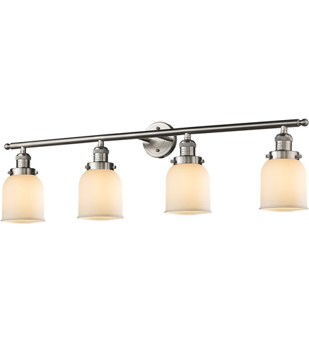 Innovations Lighting 215-SN-G51 Small Bell 4 Light 42 inch Brushed Satin Nickel Bath Vanity Light Wall Light, Franklin Restoration photo