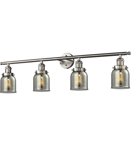 Innovations Lighting 215-SN-G53-LED Small Bell LED 42 inch Brushed Satin Nickel Bath Vanity Light Wall Light, Franklin Restoration photo