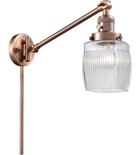 Innovations Lighting 237-AC-G302 Colton 30 inch 60 watt Antique Copper Swing Arm Wall Light, Franklin Restoration photo thumbnail