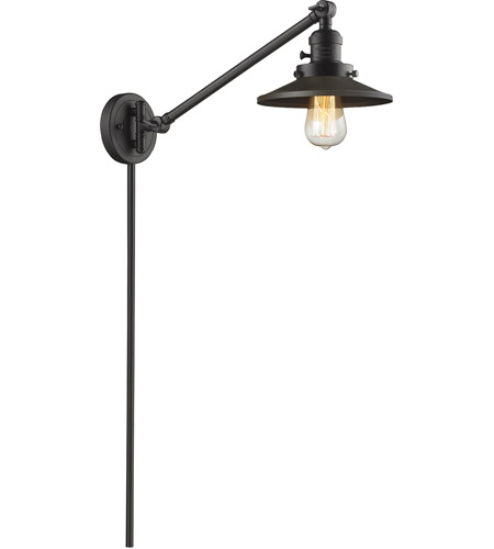 Innovations Lighting 237-OB-M5 Railroad 21 inch 60 watt Oil Rubbed Bronze Swing Arm Wall Light, Franklin Restoration photo