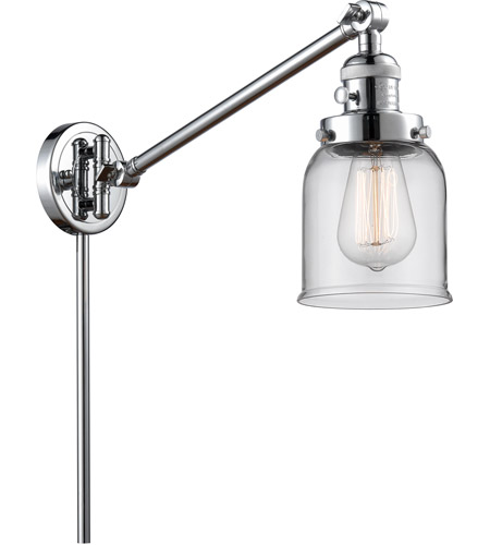 Innovations Lighting 237-PC-G52 Small Bell 21 inch 60 watt Polished Chrome Swing Arm Wall Light, Franklin Restoration photo thumbnail