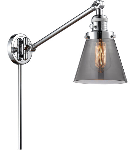 Innovations Lighting 237-PC-G63 Small Cone 21 inch 60 watt Polished Chrome Swing Arm Wall Light, Franklin Restoration photo thumbnail