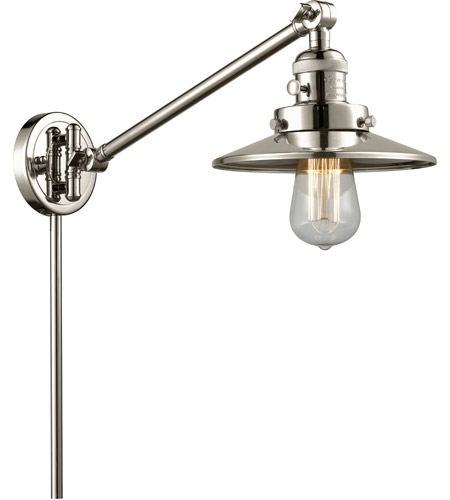 Innovations Lighting 237-PN-M1-PN Railroad 21 inch 60 watt Polished Nickel Swing Arm Wall Light, Franklin Restoration photo