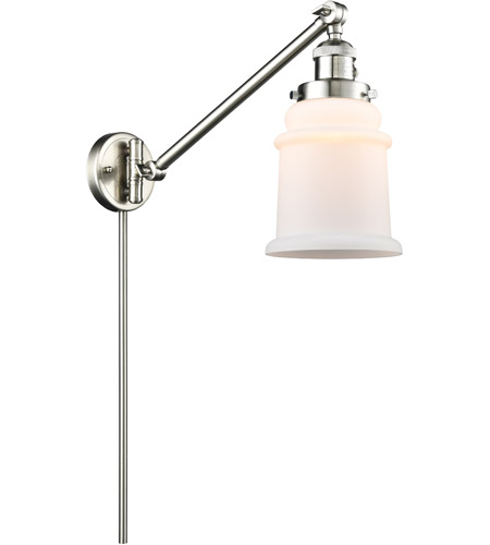 Innovations Lighting 237-SN-G181 Canton 18 inch 60.00 watt Satin Nickel Swing Arm Wall Light, Franklin Restoration photo thumbnail
