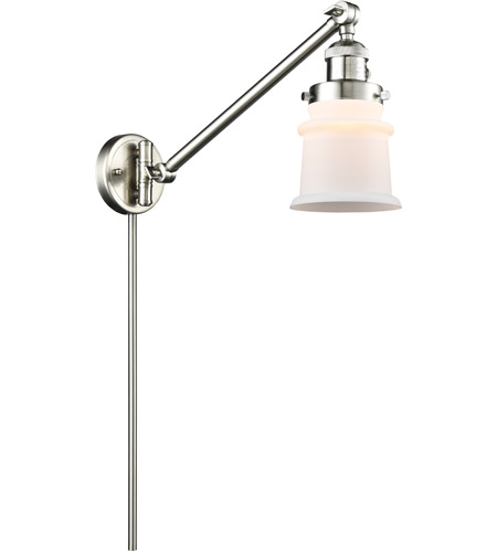 Innovations Lighting 237-SN-G181S Small Canton 35 inch 60.00 watt Satin Nickel Swing Arm Wall Light, Franklin Restoration photo thumbnail