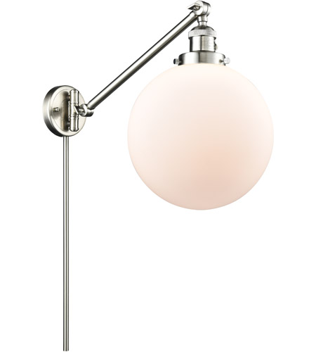 Innovations Lighting 237-SN-G201-10 X-Large Beacon 18 inch 60.00 watt Satin Nickel Swing Arm Wall Light, Franklin Restoration photo thumbnail