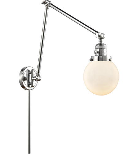 Innovations Lighting 238-PC-G201-6 Beacon 30 inch 60.00 watt Polished Chrome Swing Arm Wall Light, Franklin Restoration photo thumbnail