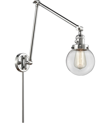 Innovations Lighting 238-PC-G202-6 Beacon 30 inch 60.00 watt Polished Chrome Swing Arm Wall Light, Franklin Restoration photo thumbnail
