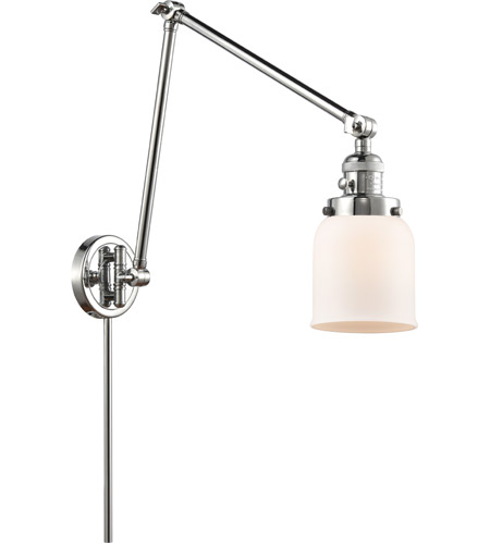 Innovations Lighting 238-PC-G51 Small Bell 30 inch 60.00 watt Polished Chrome Swing Arm Wall Light, Franklin Restoration photo