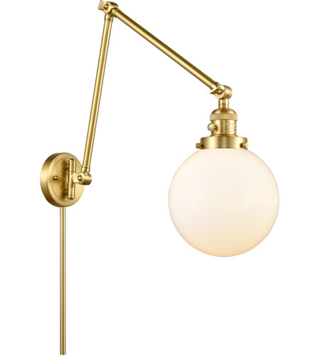 Innovations Lighting 238-SG-G201-8 Large Beacon 30 inch 60.00 watt Satin Gold Swing Arm Wall Light, Franklin Restoration photo thumbnail