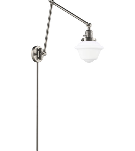 Innovations Lighting 238-SN-G531 Small Oxford 30 inch 60.00 watt Satin Nickel Swing Arm Wall Light, Franklin Restoration photo thumbnail