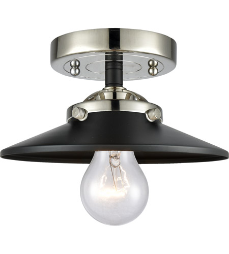 Innovations Lighting 284-1C-BPN-M6-BK Railroad 1 Light 8 inch Black Polished Nickel Semi-Flush Mount Ceiling Light, Nouveau photo