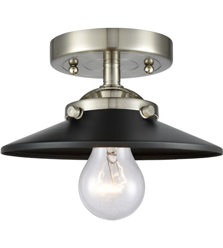Innovations Lighting 284-1C-SN-M6-BK Railroad 1 Light 8 inch Brushed Satin Nickel Semi-Flush Mount Ceiling Light, Nouveau photo