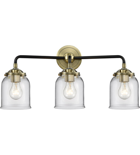 Innovations Lighting 284-3W-BAB-G52 Small Bell 3 Light 23 inch Black Antique Brass Bath Vanity Light Wall Light, Nouveau photo