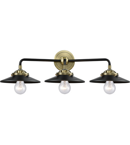 Innovations Lighting 284-3W-BAB-M6-BK Railroad 3 Light 26 inch Black Antique Brass Bath Vanity Light Wall Light, Nouveau photo