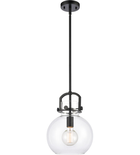 Innovations Lighting 410-1S-BK-10CL Newton 1 Light 10 inch Matte Black Mini Pendant Ceiling Light, Restoration photo